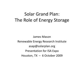 Solar Grand Plan: The Role of Energy Storage
