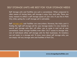 Self Storage Unit Is More Than Just a Room to Keep Belonging