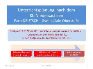 Unterrichtsplanung  nach dem  KC Niedersachsen   - Fach DEUTSCH - Gymnasiale Oberstufe -