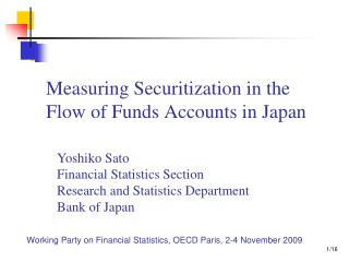 Measuring Securitization in the Flow of Funds Accounts in Japan