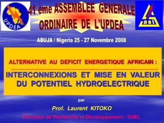 ALTERNATIVE  AU  DEFICIT  ENERGETIQUE  AFRICAIN :   INTERCONNEXIONS  ET  MISE  EN  VALEUR  DU  POTENTIEL  HYDROELECTRIQU
