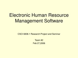 Electronic Human Resource Management Software