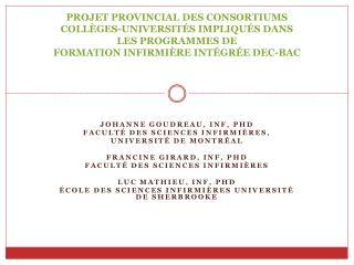 PROJET PROVINCIAL DES CONSORTIUMS  COLL GES-UNIVERSIT S IMPLIQU S DANS LES PROGRAMMES DE  FORMATION INFIRMI RE INT GR E