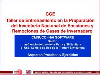CMNUCC -NAI SOFTWARE  Sector:  a Cambio de Uso de la Tierra y Silvicultura b Uso, Cambio de Uso de la Tierra y Silvicult