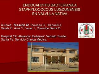 ENDOCARDITIS BACTERIANA A STAPHYLOCOCCUS LUGDUNENSIS  EN V LVULA NATIVA