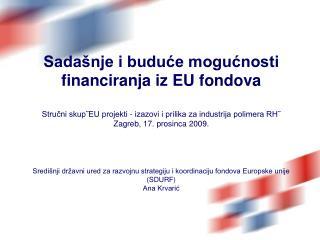 Sada nje i buduce mogucnosti financiranja iz EU fondova   Strucni skupEU projekti - izazovi i prilika za industrija poli