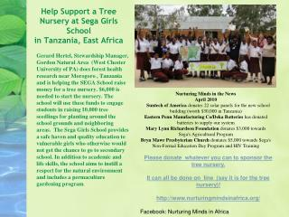 Help Support a Tree Nursery at Sega Girls School