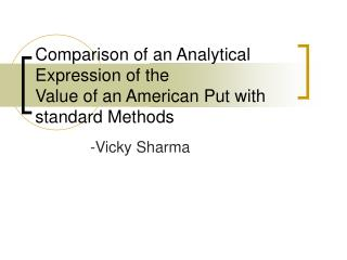 Comparison of an Analytical Expression of the
