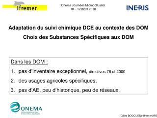 Onema Journ es Micropolluants 10   12 mars 2010