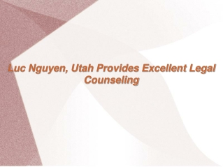 Luc Nguyen Utah Provides Excellent Legal Counseling