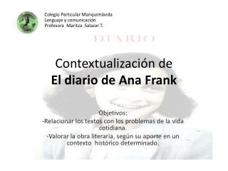 Contextualizaci n de  El diario de Ana Frank