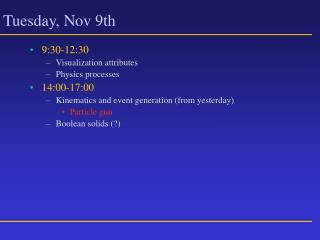 Tuesday, Nov 9th