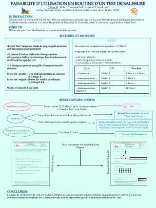 FAISABILITE D UTILISATION EN ROUTINE D UN TEST DE SALISSURE Poiteau M., Vella I., Tywoniuk M-H, Legrand.P, Luyckx M.  Se