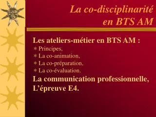 La co-disciplinarit   en BTS AM