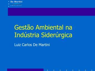 Gest o Ambiental na Ind stria Sider rgica Luiz Carlos De Martini