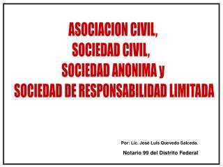 ASOCIACION CIVIL,  SOCIEDAD CIVIL,    SOCIEDAD ANONIMA y  SOCIEDAD DE RESPONSABILIDAD LIMITADA