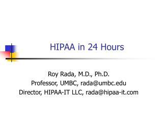 HIPAA in 24 Hours