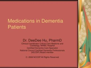 Medications in Dementia Patients