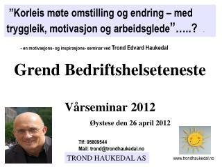 Grend Bedriftshelseteneste               V rseminar 2012