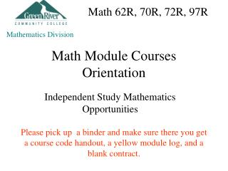 Math Module Courses Orientation