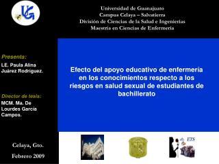 Universidad de Guanajuato Campus Celaya   Salvatierra Divisi n de Ciencias de la Salud e Ingenier as Maestr a en Ciencia