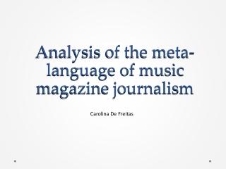 Analysis of Meta-Language