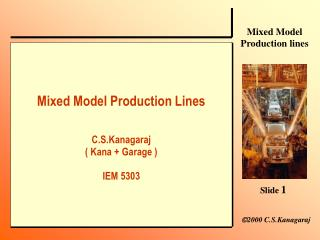 Mixed Model Production LinesC.S.Kanagaraj Kana  Garage