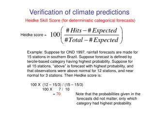 Heidke Skill Score for deterministic categorical forecasts