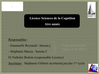 Licence Sciences de la Cognition  1 re ann e