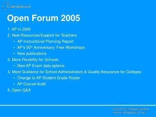 Open Forum 2005