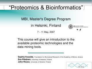 Proteomics  Bioinformatics