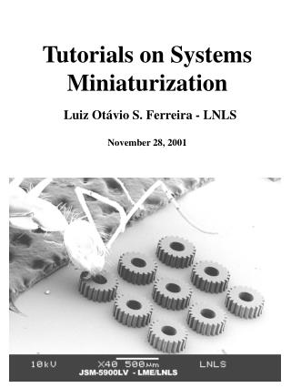 Tutorials on Systems Miniaturization  Luiz Ot vio S. Ferreira - LNLS  November 28, 2001
