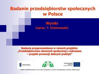Badanie przedsiebiorstw spolecznych  w Polsce