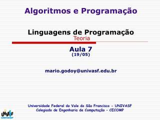 Algoritmos e Programa  o   Linguagens de Programa  o  Teoria  Aula 7 19