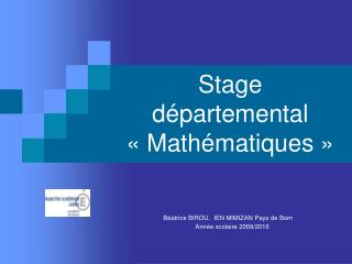 Stage d partemental   Math matiques