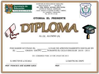 SECRETAR A DE EDUCACI N DE TAMAULIPAS   ZONA ESCOLAR 141          SECTOR 02        ESC. PRIM. PROFRA. ANTONIA L PEZ OCHO