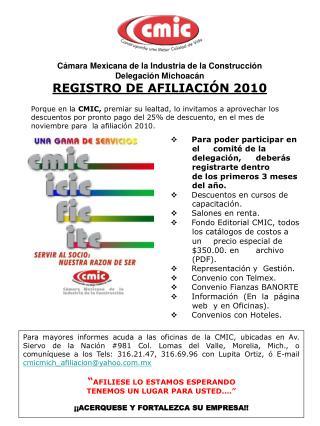 C mara Mexicana de la Industria de la Construcci n Delegaci n Michoac n REGISTRO DE AFILIACI N 2010