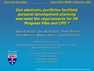 Can electronic portfolios facilitate personal development planning and meet the requirements for HE Progress Files and C