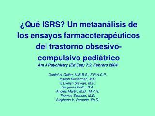 Qu  ISRS Un metaan lisis de los ensayos farmacoterap uticos del trastorno obsesivo-compulsivo pedi trico