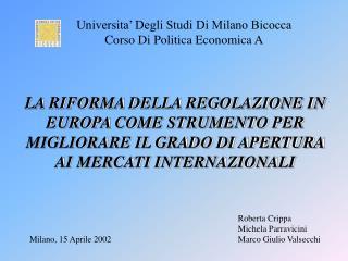 Universita  Degli Studi Di Milano Bicocca Corso Di Politica Economica A