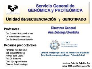 Profesores  Dra. Carmen Manzano Basabe  Dr. Mikel Iriondo Orensanz  Dra. Andone Estonba Rekalde Becarios predoctorales