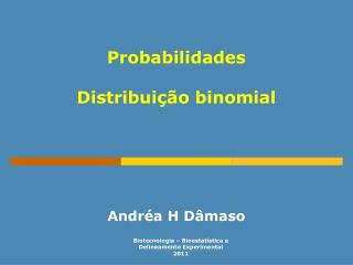 Probabilidades  Distribui  o binomial