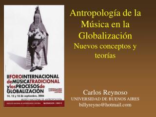 Antropolog a de la M sica en la Globalizaci n Nuevos conceptos y teor as