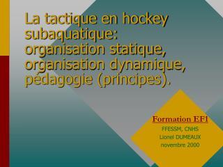 La tactique en hockey subaquatique:  organisation statique, organisation dynamique, p dagogie principes.
