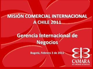 MISI N COMERCIAL INTERNACIONAL A CHILE 2011  Gerencia Internacional de Negocios  Bogot , Febrero 3 de 2011