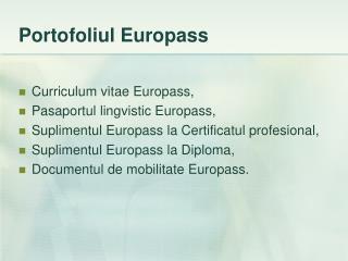 Portofoliul Europass