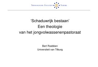 Schaduwrijk bestaan  Een theologie van het jongvolwassenenpastoraat   Bert Roebben Universiteit van Tilburg