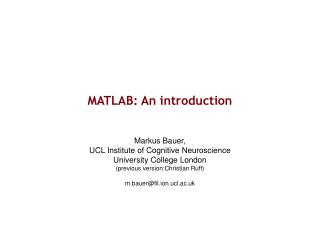 MATLAB: An introduction