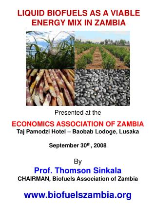 Presented at the  ECONOMICS ASSOCIATION OF ZAMBIA Taj Pamodzi Hotel   Baobab Lodoge, Lusaka  September 30th, 2008  By Pr