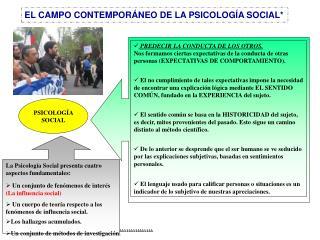 EL CAMPO CONTEMPOR NEO DE LA PSICOLOG A SOCIAL